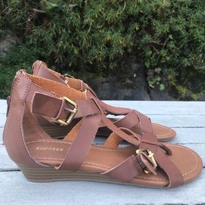 NWOT Express brown double buckle wedge sandal